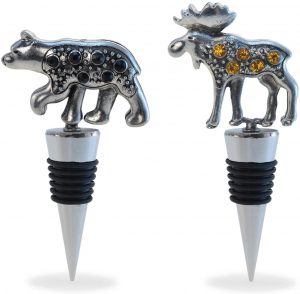 Puzzled Reusable Black Bear & Moose Wine Stopper